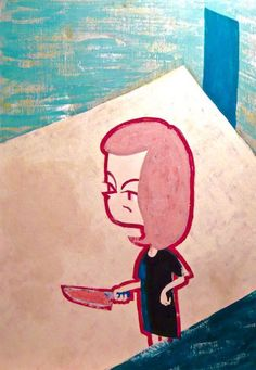 No Way Out  #illustration #イラスト #contemporaryart #popart #acrylicpainting #lockedroom #murder #kitchenknife #密室 #社会問題