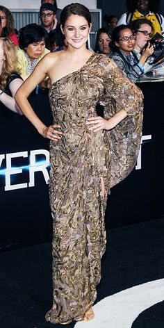 Shailene Woodley at the Los Angeles premiere of Divergent as she sparkled in her fully beaded bronze one-shoulder Elie Saab Haute Couture gown