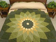 photo of Green and Tan Giant Dahlia Quilt