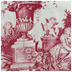 "French Toile de Jouy Agreable Lecon Red on Antique White by MFTA 14"" by Frenchornaments on Etsy https://www.etsy.com/listing/460097818/french-toile-de-jouy-agreable-lecon-red"