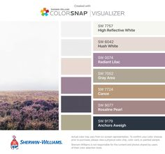 I found these colors with ColorSnap® Visualizer for iPhone by Sherwin-Williams: High Reflective White (SW 7757), Hush White (SW 6042), Radiant Lilac (SW 0074), Gray Area (SW 7052), Canoe (SW 7724), Rosaline Pearl (SW 9077), Anchors Aweigh (SW 9179).