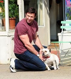 We just want to say happy Father's Day to all the dog dads out there. We want to honor the guys who take good care of the pups they love all year long. Every dog dad deserves to be treated like a celebrity for a day. #dogtime #fathersday #celebritydog #HughJackman Hugh Jackman, Hugh Michael Jackman, French Bulldog Puppies, Dogs And Puppies, French Bulldogs, Doggies, Hugh Wolverine, Celebrity Dogs, Celebrity Crush