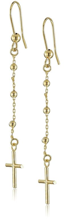14k Yellow Gold Italian Cross Dangle Earrings >>> Check this awesome product by going to the link at the image.