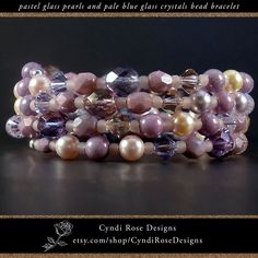Items similar to Pastel glass pearl bracelet in soft purple, blue, pink, and gold with light blue sparkling glass crystals on wrap around memory wire on Etsy Beaded Jewelry, Beaded Bracelets, Unique Jewelry, Soft Purple, Faceted Glass, Color Blending, Rose Design, Pearl Bracelet, Pastel Colors