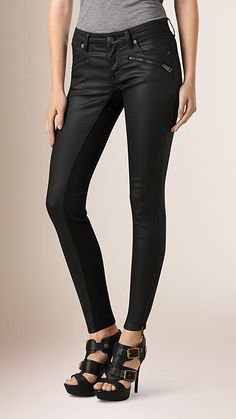 Black Skinny Fit Low-rise Coated Jeans - Image 1