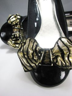 Shoe Clips Black Gold Animal Print Bow Upcycled Jewelry for Shoes