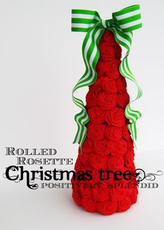 Positively Splendid {Crafts, Sewing, Recipes and Home Decor}: Rolled Rosette Christmas Tree Tutorial.I would place a prettier bow on top Christmas Tree Topiary, Creative Christmas Trees, Handmade Christmas Tree, Gold Christmas Tree, Christmas Tree Crafts, Xmas Tree, Christmas Projects, Winter Christmas, Beautiful Christmas