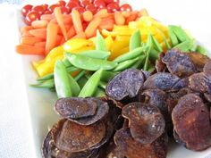 Rainbow Vegetable Platter with Tangy Chive Yogurt Dressing or Hummus Dip by cookitfresh: Super foods (especially for kids and moms-to-be)! Recipe for purple potato chips, dressing, and dip included! #Vegetables #Yogurt_Dresing #Hummus_Dip #Purple_Potato_Chips #Rainbow_Vegetables #cookitfresh