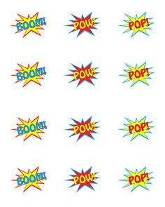 Free super hero printables. Cup cake toppers and larger versions that could be used as decorations or photobooth props!