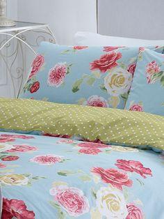 carol lake blue rose bedding