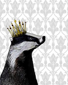 Badger King14x11 Art Print Digital Illustration by LoopyLolly, $22.00