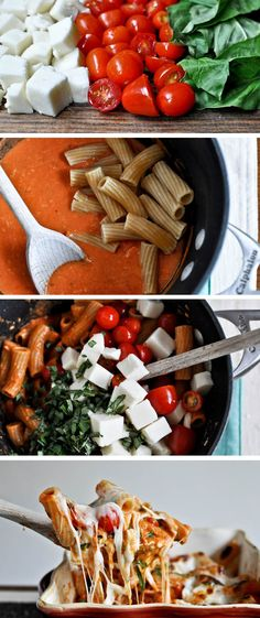 Try this Creamy Caprese Pasta recipe for dinner. - trade out noodles with spaghetti squash or squash noodles