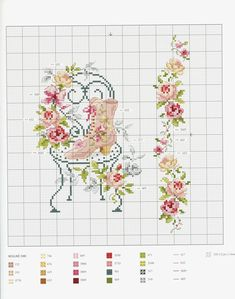 Flower chair cross stitch