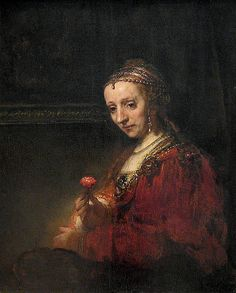 Woman with a Pink, early 1660s Rembrandt (Rembrandt Harmensz. van Rijn) (Dutch, 1606–1669) Oil on canvas; 36 1/4 x 29 3/8 in. (92.1 x 74.6