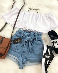 Short bleu haut blanc sac camel chaussures noir Source by outfits for school Cute Summer Outfits, Cute Casual Outfits, Stylish Outfits, Fall Outfits, Casual Shoes, Summer Shoes, Cute Outfits For Girls, Trendy Outfits For Teens, Dinner Outfits