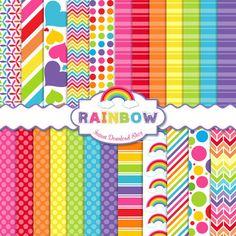 Rainbow Digital Paper Pack Scrapbook Papers by InstantDownloadShop
