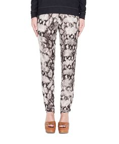 #Snakeskin printed #pant with front gold zipper and stretch waist. Wow.