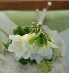Freesia buttonhole