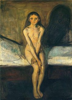 Puberty Artist: Edvard Munch Completion Date: 1894 Style: Expressionism Period: European period Genre: nude painting (nu) Technique: oil Mat...