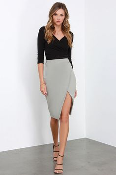 Glamorous Boardroom Beauty Grey Midi Skirt at Lulus.com |  $63  |  30W X 40 H X 28 I  fitted waist, runs one size large