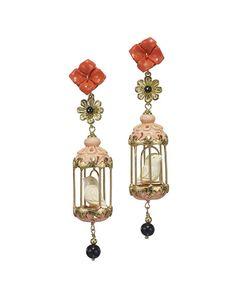 Aviary Carved Bone Drop Earrings, Coral/Pink