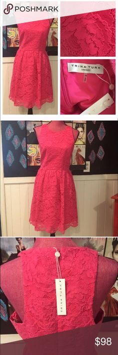 NWT Trina Turk Pink Lace Dress NWT. Amazing vibrant hot pink color. Perfect condition. Can be worn with a regular bra but has cute cut out shoulders. Waist is 30 inches and chest is 36 inches. Trina Turk Dresses Midi