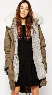 ASOS Parka With Detachable Faux Arctic Fur Lining & Hood