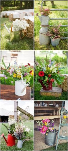 watering can wedding decor ideas - rustic country wedding ideas / http://www.deerpearlflowers.com/top-15-rustic-country-watering-can-wedding-ideas/