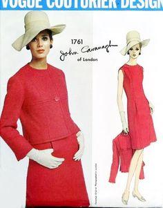 1960s ELEGANT Slim Dress and Jacket Pattern VOGUE COUTURIER Design 1761 John Cavanagh Bust 38 Vintage Sewing Pattern