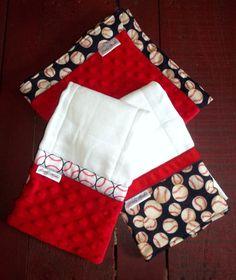 Baseball Lovey & burp cloth Baby gift set on Etsy, $28.00