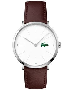 Brushed steel accents highlight the luxurious lines of this alligator accented watch from Lacoste's Moon collection. | Brown leather strap | Round stainless steel case, 40mm | White dial with silver-t