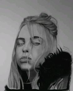 Billie Eilish drawing by Sascha Schürz. Billie Eilish, Drawing Sketches, Pencil Drawings, Sun Projects, Charcoal Portraits, Best Iphone Wallpapers, Celebrity Gallery, Animation, Illustration