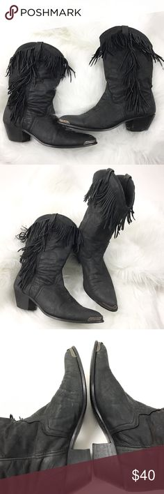 """ACME Black Leather Fringe Cowgirl Bots Pointed Toe Brand:Acme  Tagged Size:7 M  Heel Height:2""""  Boot Shaft: 10""""  Circumference:6""""  Condition: Pre owned, in Great Shape. No Holes or Stains Slight Fade(Distressed)  Original Box/Dust Bag is Not Included  Item comes from a pet free/smoke free clean environment  please contact me for any additional questions  I offer combined shipping Acme Shoes"""