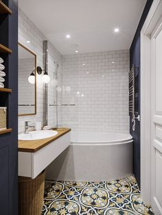 Most Popular Small Bathroom Remodel Ideas on a Budget in 2018 This beautiful look was created with cool colors, and a change of layout. Basement Decor, Small Bathroom Decor, Master Bathroom Renovation, Bathroom Interior, Modern Bathroom, Bathroom Renovations, Bathroom Decor, Beautiful Bathrooms, Small Bathroom Makeover