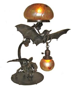 i want a bat lamp Art Nouveau, Goth Home, Gothic Furniture, Handmade Table, Stained Glass Lamps, Hearth And Home, Tiffany Lamps, Gothic Home Decor, Gothic House
