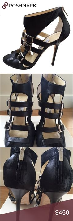 """Jimmy Choo black suede """"Mercy"""" Stiletto sandals This pair of Jimmy Choo Waxed Suede Black """"Mercy"""" stiletto bootie sandals are gorgeous. The leather is intentionally distressed to give  them that """"rocker"""" look. They are in """"like new"""" condition Jimmy Choo Shoes Ankle Boots & Booties"""