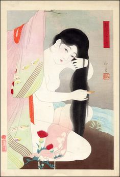 combing the hair (24 Figures of Charming women) by Narita Morikane , 1931
