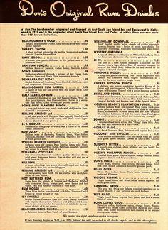 1954 - Don The Beachcomber Drinks Menu. Don the Beachcomber Original Rum Drinks Menu