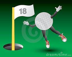 Personaje de dibujos animados. Pelota de golf cayendo al décimo octavo hoyo.
