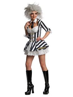 Adult miss beetlejuice halloween ladies outfit #including wig fancy #dress #costu, View more on the LINK: http://www.zeppy.io/product/gb/2/351543450897/