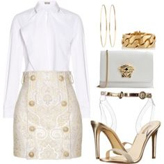 Cute Skirt Outfits, Cute Skirts, Classy Outfits, White Outfits For Women, 90s Fashion, Fashion Outfits, Gold Outfit, Professional Outfits, Whiteboard