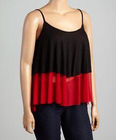 Red & Black Color Block Tank - Plus #zulily #zulilyfinds