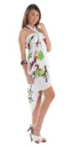 Womens' Gecko and Floral Swimsuit Cover-up Sarong- by 1 World Sarongs in Purple  ($10.99)