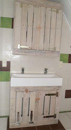 badkamer_meubel Pallets, Double Vanity, Basement, Deco, Bathroom, Washroom, Root Cellar, Full Bath, Decor