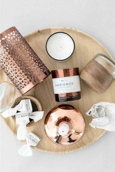 Wood + White + Copper | Vassoio in legno H&M