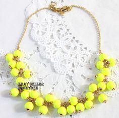 J Crew Bright Yellow Glass Beads Necklace | eBay