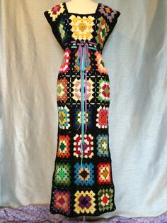 Sale Womens Crochet Granny Square Maxi Hippie by OrawanCrochet