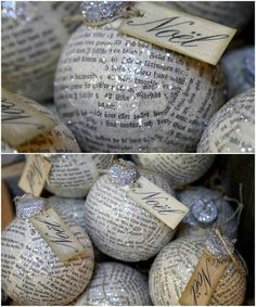 "Made with recycled paper from a book or music sheet and ""glittered"" ;) Items needed: old paper back books, scissors, plastic Christmas ornaments, mod podge, spray on glitter. I cut the paper back book into small strips, dipped into the mod podge and put on the Christmas ornament. When it was totally dry I sprayed it with the glitter glue."