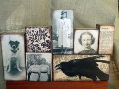 Items similar to Custom Art Block Collage Photo Ephemera Made Just For You on Etsy Wood Block Crafts, Wood Blocks, Jenga Blocks, Crafty Projects, Art Projects, Project Ideas, Paper Art, Paper Crafts, Creation Art