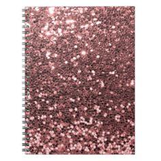 Falsa impresión del brillo del oro color de rosa cuaderno